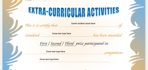 Extracurricular Activities Award Certificate