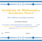 Mathematics Excellence Award Certificate