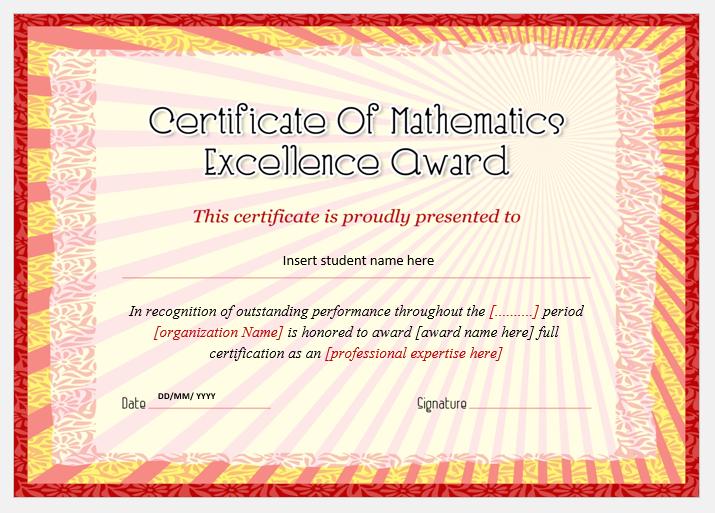 mathematics excellence award certificates