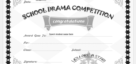 School Drama Competition Winner Certificate