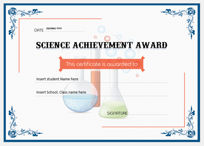 Free Science Certificates Award Certificates Science