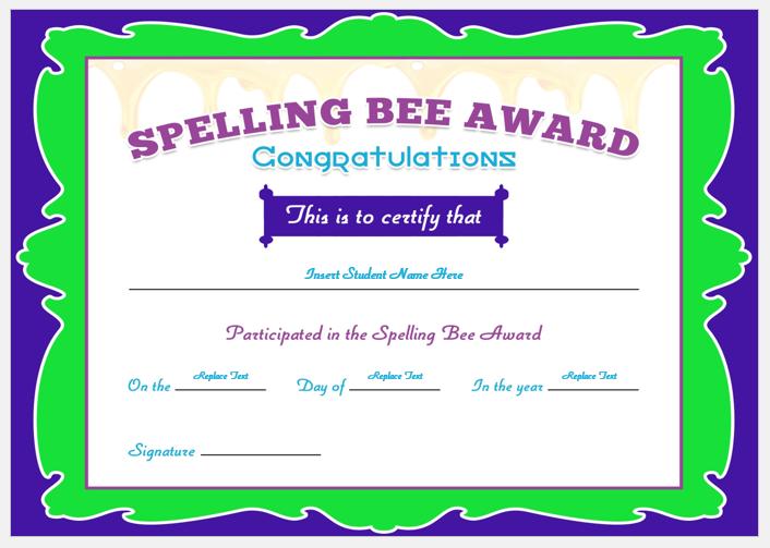 Spelling Bee Award Certificate