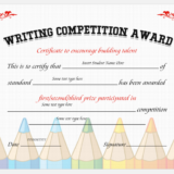 Writing Competition Award Certificate