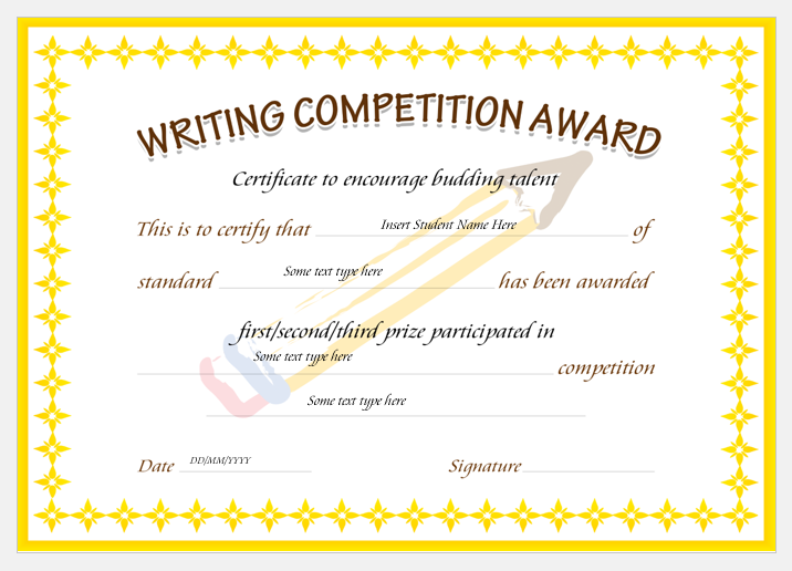writing competition award certificates