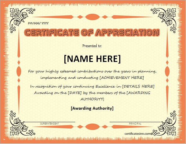 Certificates Of Appreciation Templates For Word | Professional