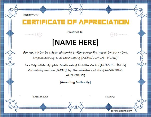 Certificates of Appreciation Templates for WORD Professional