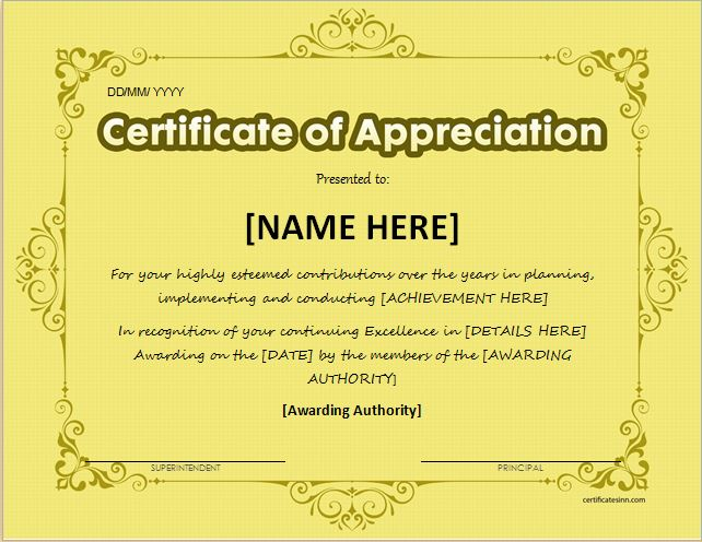 certificates of appreciation templates for word
