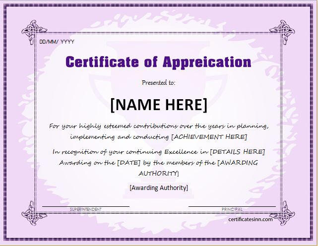 Certificates of Appreciation Templates for WORD ...