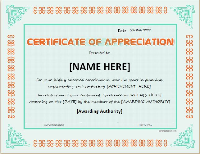 certificate of recognition template word - 7 certificate of appreciation templates free ms word pdf