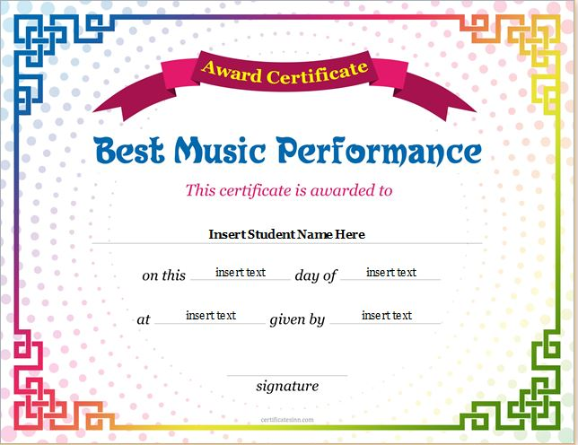 Best Music Performance Award Certificate Pictures