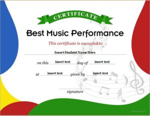 Music Performance Award Certificate