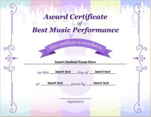 Best Music Performance Award Certificate