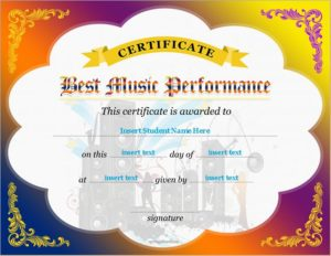 Best Music Performance Award Certificates | Professional ...