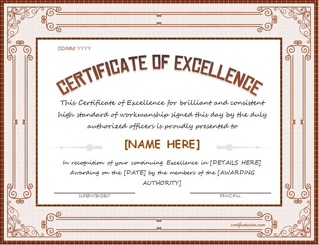 certificates of excellence for ms word