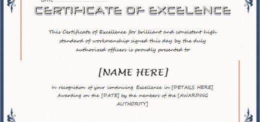 Certificates Of Excellence  Certificates Of Excellence Templates