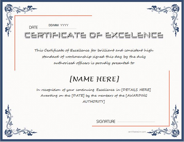 Microsoft certificate of excellence