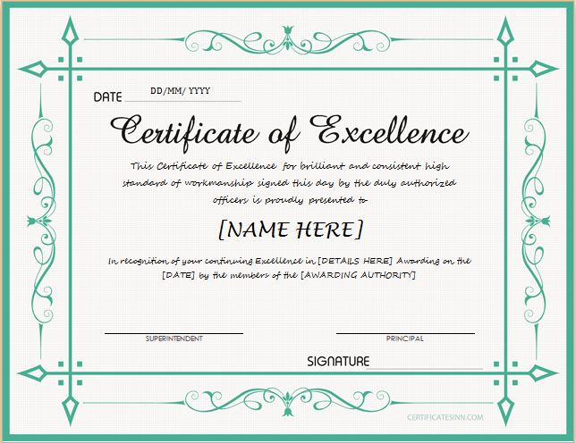 Certificates of excellence for ms word professional for Certificate of excellence template
