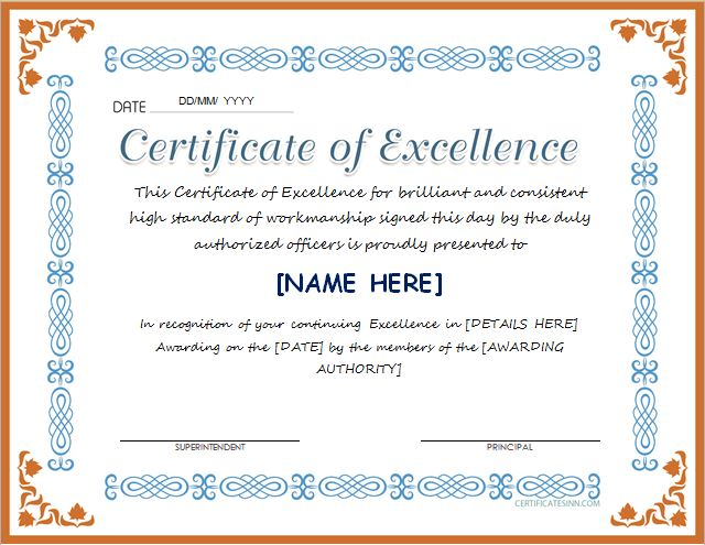 Certificates Of Excellence For Ms Word  Professional Certificate