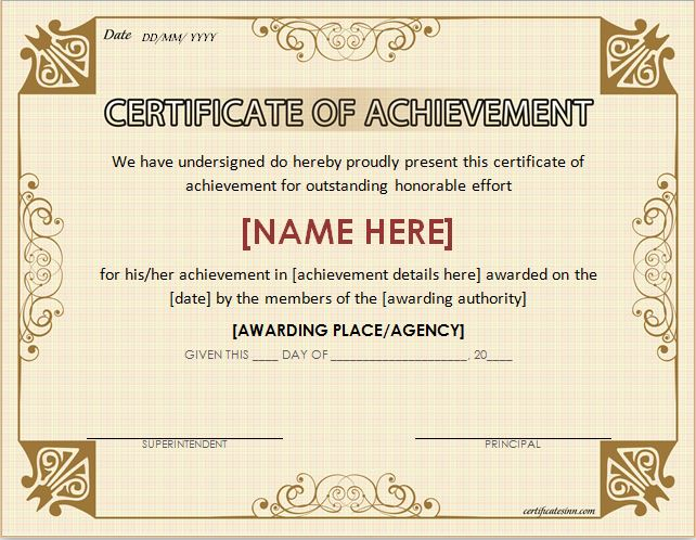 certificates of achievement for word professional certificate templates