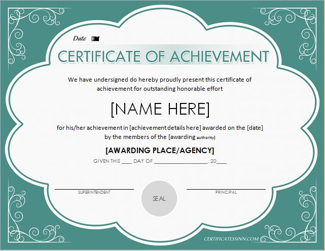 Certificates of achievement for word professional certificate certificate of achievement yadclub Image collections