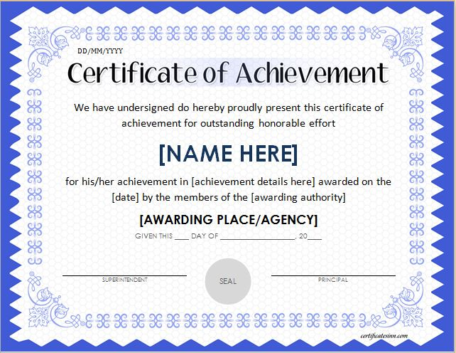 Certificates of achievement for word professional for Certificate of attainment template