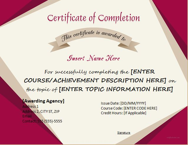Certificate Of Completion  Certificate Word