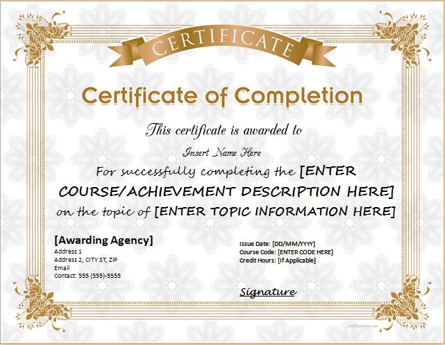 Certificates Of Completion Templates For Ms Word Professional Certificate Templates