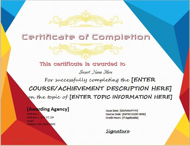 certificate of completion - Certificate Template Word 2016