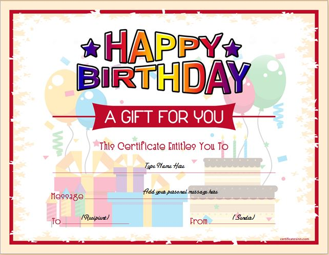 birthday gift certificate template for word