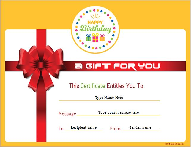 birthday gift certificate for ms word