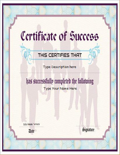 Business Certificate of Success