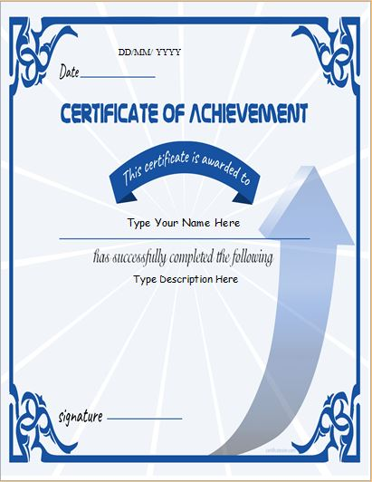 Certificate of Achievement for business
