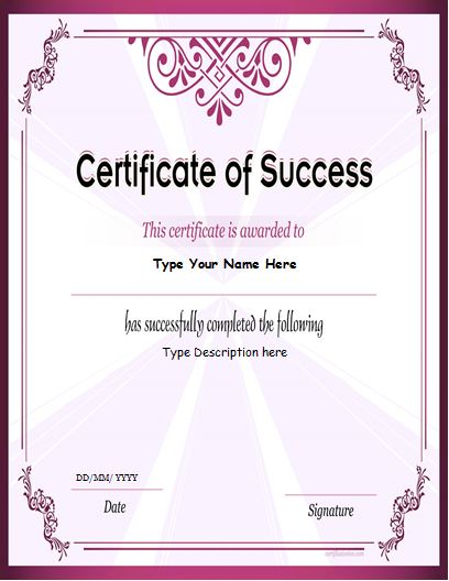 business certificate for MS Word