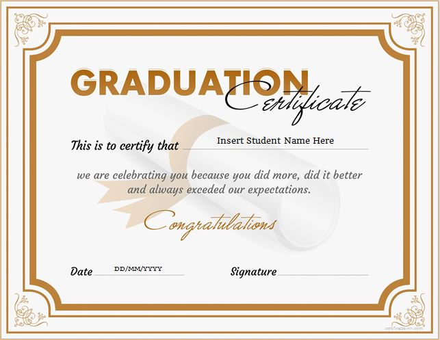 Graduation Certificate for MS Word