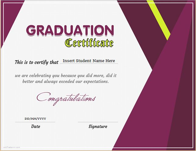Graduation Certificate Template for MS WORD