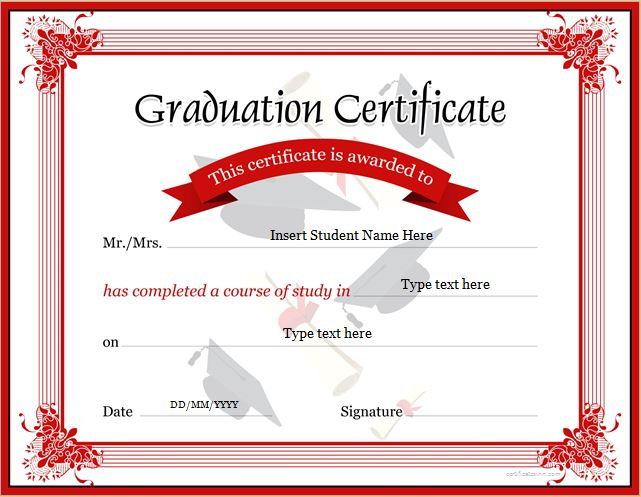 Graduation certificate templates for ms word professional graduation certificate template for ms word yadclub Image collections