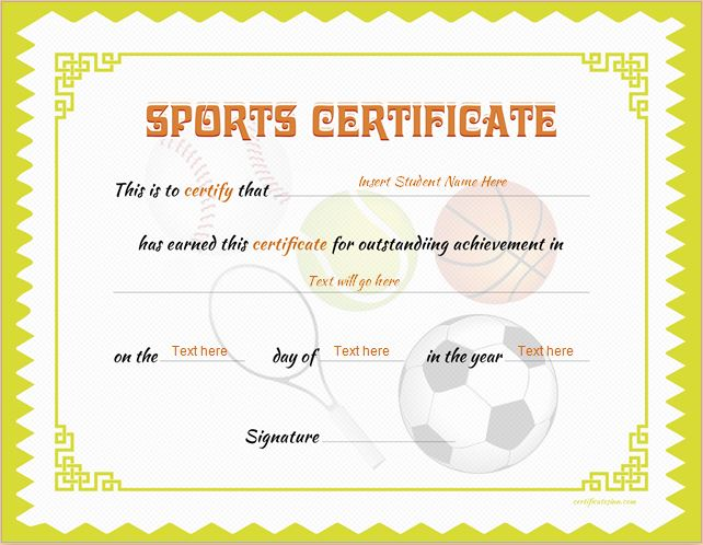 Sports certificate templates for ms word professional sports certificate yadclub Image collections