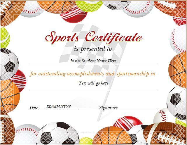 Sports certificate templates for ms word professional sports certificate for ms word yadclub Images