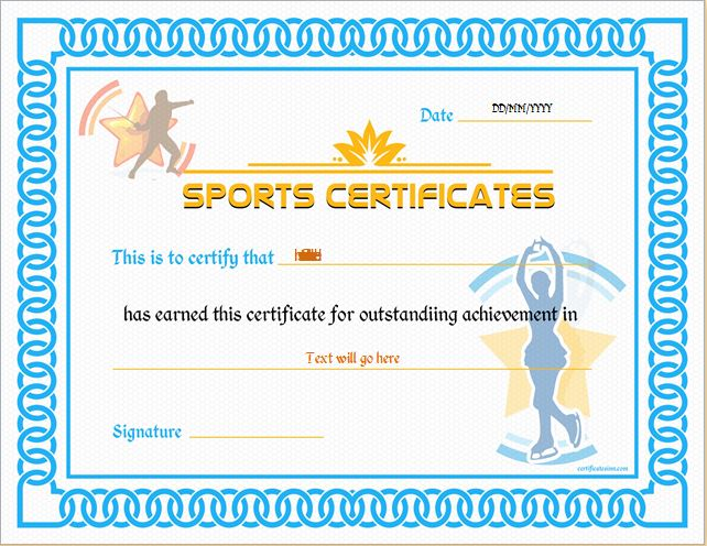 Sports Certificate Template For MS Word