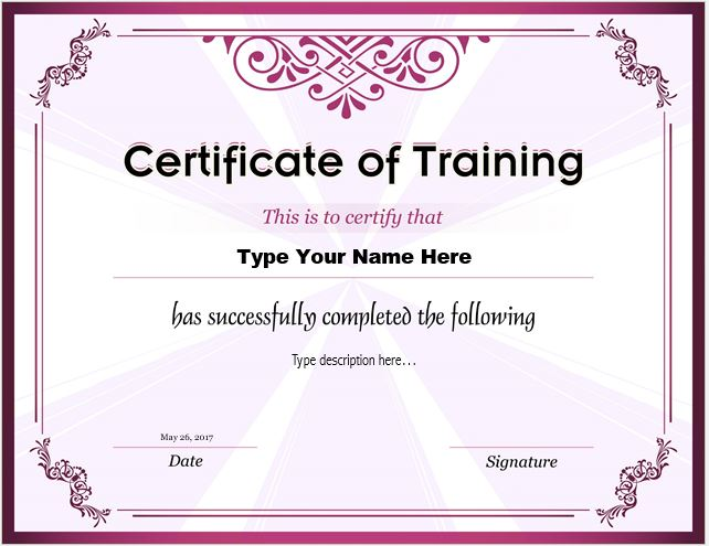 certificates of training templates professional certificate templates. Black Bedroom Furniture Sets. Home Design Ideas