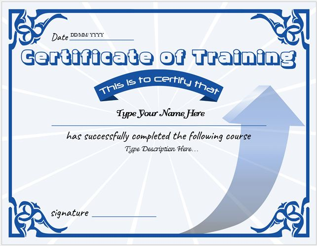 certificates of training templates