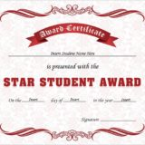 Star student award certificate