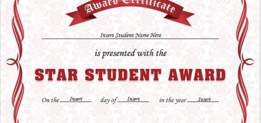 Professional certificate templates for Student of the year award certificate templates