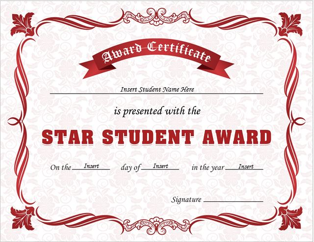 Star Student Award Certificates For Ms Word | Professional