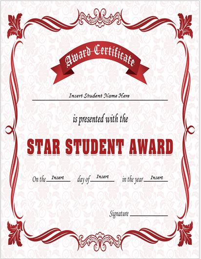 Star student award certificates for ms word professional for Student of the year award certificate templates