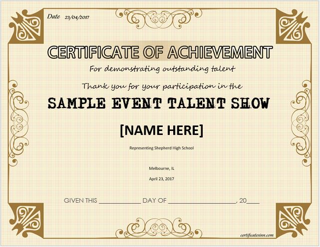 Talent Show Award Certificates For Ms Word Professional