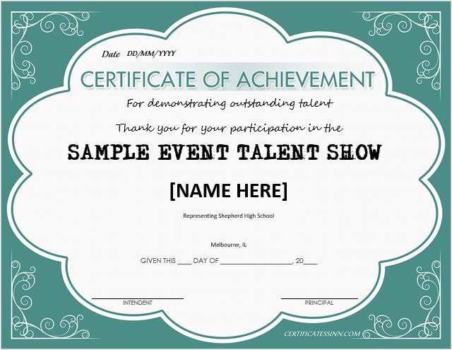 Sample certificate of achievement academic achievement sample talent show award certificates for ms word professional yadclub Image collections