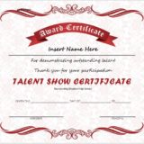 Talent Show Award Certificate
