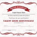 Talent Show Award Certificate