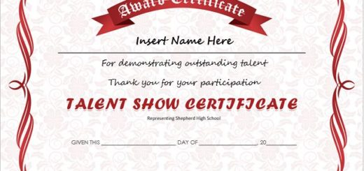 Professional certificate templates talent show award certificates yelopaper Image collections